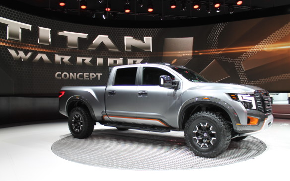 <p>The Titan Warrior's body is 15 cm wider than the regular Titan XD, with custom suspension that includes long-travel shocks. Otherwise, the engine is the same 5.0L Cummins V-8 turbo-diesel already in the XD, but don't worry about not being able to find it in the parking lot.</p>