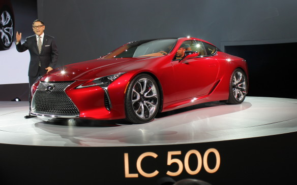 <p>Another gorgeous performance coupe broke cover over on the Lexus stand, where Toyota president Akio Toyoda introduced the production-ready LC 500. Its rear wheels are driven by the same 5.0-litre engine that's under the hood of the hot RC-F, which creates 467 horsepower.</p>
