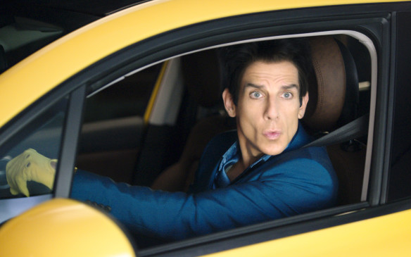 Actor Ben Stiller as Derek Zoolander posing in a Fiat 500X
