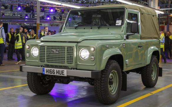 <p>Last Defender, a Defender 90 Heritage Soft Top, comes off the line in Solihull</p>