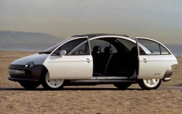 <p>When the Neon concept was introduced in 1991, Chrysler was riding a design wave with its direction of creating more space for people and less for mechanicals, and it explored ways to make that happen with ideas such as minivan-like sliding doors on a compact sedan, and a clamshell hood that unveiled an economy conscious 3-cylinder engine.</p>