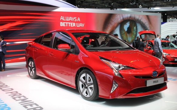 <p><strong></strong>Further reinforcing Toyota's wish to have the new Prius thought of as sporty and fun, it is available in Hypersonic Red with black inserts on the five-spoke wheels</p>