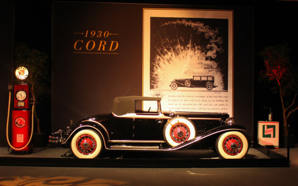 <p>The exhibit traced the evolution of both art forms from the early days of the industry up to the 1960s. Shown here is a 1930 Cord L-29 Cabriolet – America's first front-wheel drive production car.</p>
