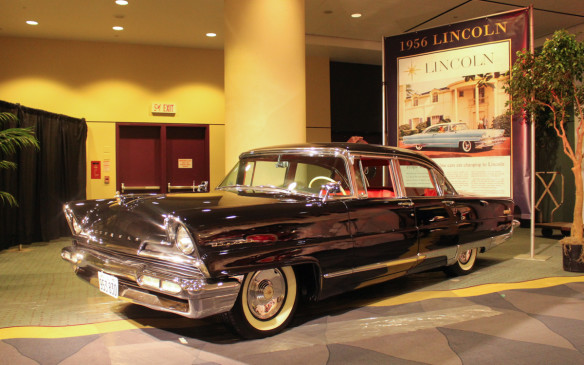 <p>More representative of the styling in that period was this 1956 Lincoln Premiere. As part of a totally redesigned Lincoln lineup for that year, it typified American luxury in the mid-1950s. Advertising artwork for the period still typically distorted cars' dimensions to make them look longer, lower and roomier.</p>