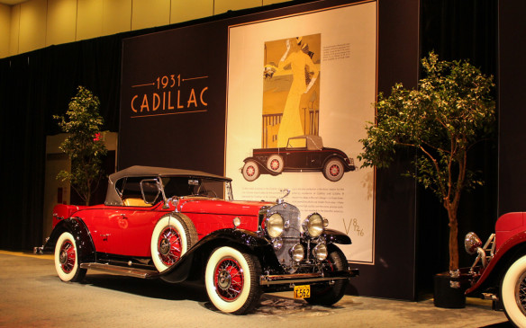 <p>While most of Cadillac's V-12 models featured custom bodies, mostly by Fisher, this 1931 model 370A Roadster was built by Fleetwood. It's decked out with a full list of options that include six wire wheels, trunk rack, Goddess mascot and wind wings. Ads for the cars were intended to evoke the sophisticated lifestyle associated with the brand.</p>