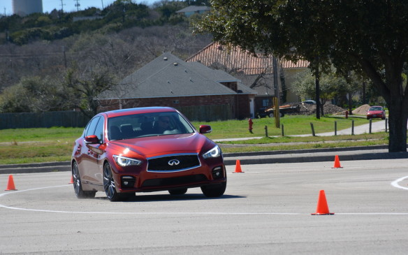 <p>We tested the DAS tested on a handling track in San Antonio, Texas, performing multiple laps, first in a vehicle without the optional DAS, followed by one with it. When driving with DAS, the Q50 stayed composed and balanced with a much improved connection between the driver and the road. Without it, the Q50 still managed to navigate the course, but more steering corrections and input were needed.</p>