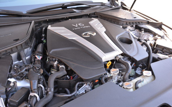 <p>The Red Sport 400 is the top-rated engine choice – a 3.0-litre twin-turbocharged V-6 producing 400 horsepower and 350 lb-ft of torque. It's matched to a seven-speed automatic transmission that has magnesium paddle shifters. Only available for Canada is Infiniti's rear-biased intelligent all-wheel drive system.</p>
