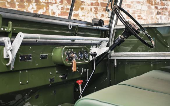 <p>Land Rover Series I interior</p>