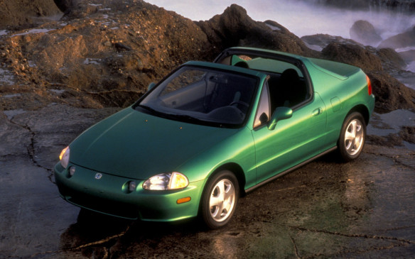 <p>The Civic del Sol took the idea forwarded by AMC Sundancer and Pulsar NX and created a 2-seat coupe with a faux fastback-ish design. The roof panel could be removed for open air motoring and the vertical rear window could be powered down to create a convertible with a Targa bar. The replacement for the popular CRX 2-seat hatchback never really caught on, mostly due to its awkward profile and ho-hum performance.</p>