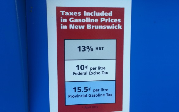 <p><em>Fixed Federal tax - $0.10;  Fixed Provincial tax - $0.136;  Sales Tax (HST) – 13.0%  </em></p> <p><em>Current retail price - $0.994/litre;  Total tax - $0.350/litre (35.2%)  </em></p> <p>New Brunswick increased its gasoline tax by 1.9 cents a litre (to $0.136/litre) starting in April 2015, matching the rate in neighbouring Nova Scotia. However, because New Brunswick's HST is two percent lower than Nova Scotia's (13% vs 15%), the total amount is slightly less.  </p> <p>New Brunswick takes its wholesale prices and influences from the daily WTI rating on the New York Mercantile Exchange (NYMEX), and because of the current moratorium on fracking doesn't have any major oil production. However, the Irving Oil refinery in Saint John is the largest in Canada, with an output of 300,000 barrels a day, which feeds its own stations in the Atlantic provinces and into Maine. Most of the crude comes from places like Nigeria or Venezuela. The Irving family is pushing hard for the Energy East pipeline that would bring Bakken-grade crude from Alberta at a much lower cost per barrel than it pays for its current grades of Brent or WTI crude.</p>