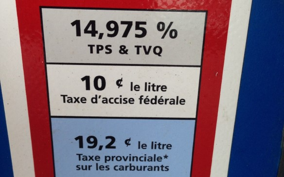 <p><em>Fixed Federal tax - $0.10;  Fixed Provincial tax - $0.192;  Sales Tax (QST GST) – 14.975%  </em></p> <p><em>Current retail price - $1.100/litre;  Total tax - $0.435/litre (39.6%)  </em></p> <p>Quebec currently has the highest combined provincial fuel excise taxes in Canada with 43.5 cents tax in the price of every litre. Similar to Vancouver and Victoria, Montreal adds three cents a litre in addition to what the province charges. However, in remote communities away from population centres and at stations close to the US border, the province lowers the taxes it collects, to dissuade Quebeckers crossing over to find even cheaper gas in New York or portions of New England.  </p> <p>Like Ontario, Quebec is tied strongly into the NYMEX and north-east US for its wholesale prices. Quebec's two remaining refineries are each located close to its two largest cities; the one in Levis, which is located across the St. Laurence Seaway from the provincial capital, Quebec City, is the second-largest in Canada. It produces 265,000 barrels a day for owner Ultramar.</p>