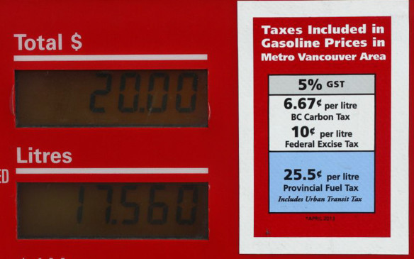 <p><em>Fixed Federal tax - $0.10;  Fixed Provincial tax - $0.145;  Sales Tax (HST) – 11.67%  </em></p> <p><em>Carbon tax - $.0667; Current retail price - $1.141/litre;  Total tax - $0.431/litre (37.8%)  </em></p> <p>British Columbia has the second highest taxes for fuel in the country at 43.1 cents per litre, in large part because of a 6.67-cent/litre carbon tax that no other province applies - yet. However, if in Metro Vancouver, there is an additional 11 cent city transit/carbon tax which raises that total to 54.1 cents per litre. The provincial capital of Victoria does something similar, although it is only 3.5 cents a litre, meaning a total of 46.6 cents.  </p> <p>Much of BC's wholesale price is influenced by west-coast American states. The province has two refineries: a Husky-owned one in the Vancouver suburb of Burnaby, and a Chevron refinery in Prince George, which is much farther north and well into the interior.  </p> <p>Photo by Gerry Frechette</p> <p> </p>