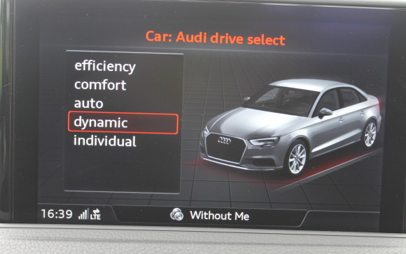 <p>They also all come with selective drive modes, displayed here on the central screen, so you can choose the car's response and handling characteristics.</p>