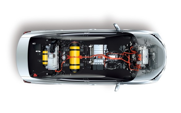 <p>The system is actually quite similar to Toyota's Synergy Drive that's used in its current gas/electric hybrid vehicles, except the gas engine is replaced by a 100-kilowatt solid polymer electrolyte fuel stack. Each stack is comprised of 370 cells, each with a cell thickness of 1.34 millimetres and weight of 102 grams. This design results in a compact size and a high level of performance – the stack's power output density of 3.1 kilowatts/litre is more than two times higher than Toyota's previous fuel cell stack.</p>