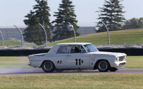 <p>An even more unlikely sight on a race track was this 1964 Studebaker Daytona Coupe, but it was a serious racer. All Studebaker production shifted to Canada in 1964 and subsequent models were powered by Chevrolet engines, including a small-block V-8.</p>