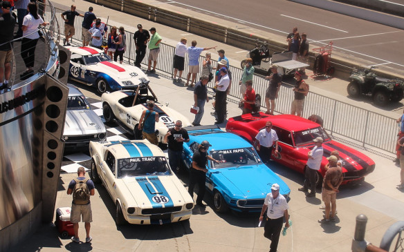 <p>The class-winning white-and-blue Shelby GT350 here in the Pro-Am winners' circle was owned by Canadian Gary Moore and co-driven by Paul Tracy.</p>