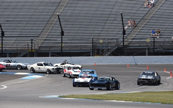 <p>The feature event was a 50-minute Pro-Am race featuring '60s-era Sports and Trans-Am cars and a combination of amateur and professional drivers in each. Canadian, Peter Klutt, in second place here on lap one, sat on the pole and led most of the race but he got caught out by a yellow flag before switching drivers, setting him back in the field.</p>