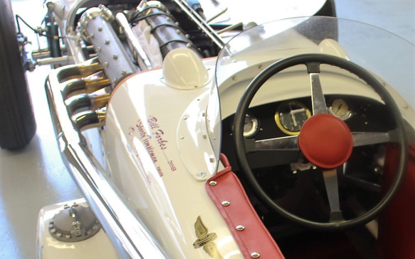 <p>A tour of the garages was like a history lesson on the evolution of race cars. This Indy car roadster illustrates the adoption of engines offset to the left to help improve the left-right weight balance on the tires under the high G-forces of the Speedway's four left turns.</p>
