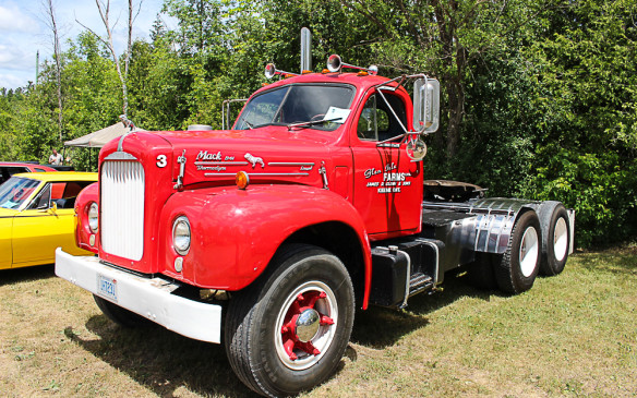 <p>They weren't the only trucks in the show either. The biggest of them all was this vintage tandem-wheeled Mack cab for a tractor trailer rig.</p>