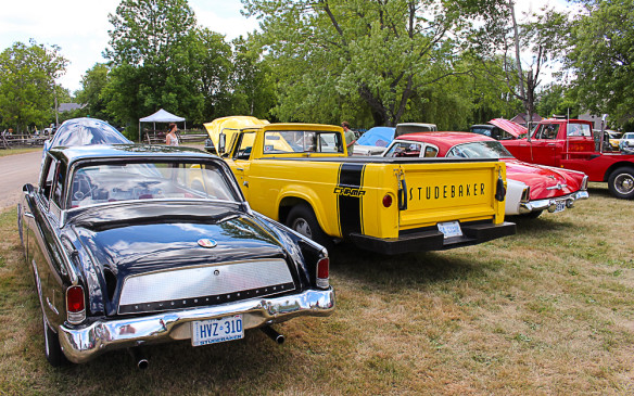 <p>This row of Studebakers also features a pair of trucks, Lark-based circa 1960s Champs, one of which is decked out as a tow truck.</p>