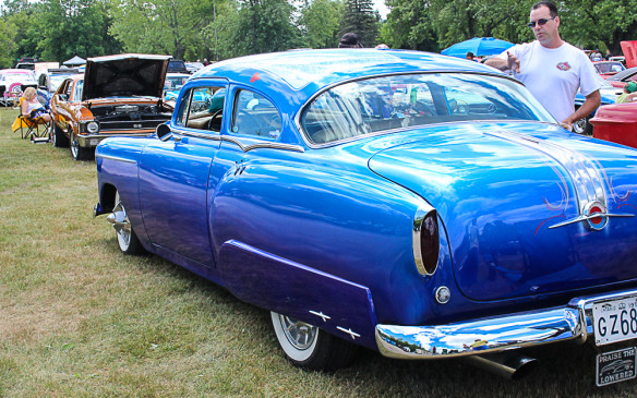 <p>While most of the cars on display were in original form, or nearly so, there were a few rods and customs, including this chopped '54 Pontiac, modified by the legendary Gene Winfield's shop in California.</p>