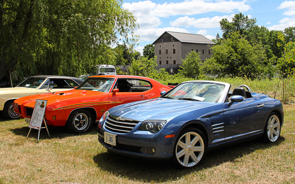 <p>Most of the cars in the show were from the '50s and '60s but this 21st-century Chrysler Crossfire was equally rare, if not more so. That's a Pontiac GTO Judge behind it.</p>