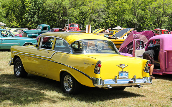 <p>I know, it's a tri-five Chevy and I promised alternatives, but the '56 model is the forgotten middle child, though the most attractiveof the three to many eyes, and this Bel Air is unusual in that its not a hardtop but a pillared coupe. It's also a monochrome yellow rather than the usual two-tone.</p>