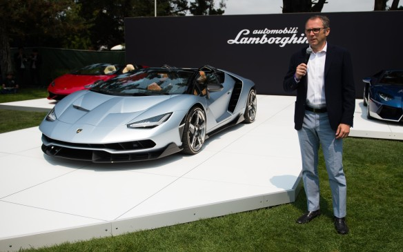 <p>Lamborghini seized  the opportunity for the unveiling of its $2.3-million (USD) Centenario Roadster by CEO Stefano Domenicali.</p>