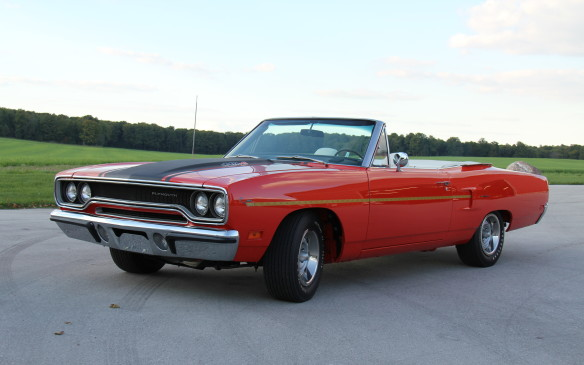 <p>Their ranks will include this 1970 Plymouth Road Runner convertible – a particularly rare example with a 440-cubic-inch, 390-horsepower Six Pack engine and Torqueflite automatic transmission, and the only one delivered from the factory finished in TorRed with a white-on-black interior.</p>