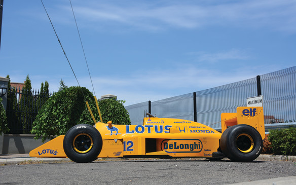 <p>Front and centre in the race car class will be this Camel-liveried, Honda-powered 1987 Lotus 99t/4 Formula One car, driven that year by yet-to-become World Champion, Ayrton Senna. Senna and Lotus finished third in the 1987 World Drivers' and Constructors', which was Senna's best career performance to that point, paving the way to his 1988 F1 World Championship title with McLaren.</p>
