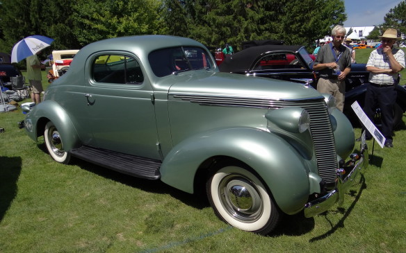 <p>Similarly sporty and powerful but from an earlier era will be this 1938 Studebaker Dictator Coupe (an unfortunate name for the time that was soon after abandoned). This model was the first to exhibit the Art Deco influence of famed industrial designer Raymond Loewy, who would have a long relationship with Studebaker that included the iconic 1953 Starliner and the 1963 Avanti.</p>