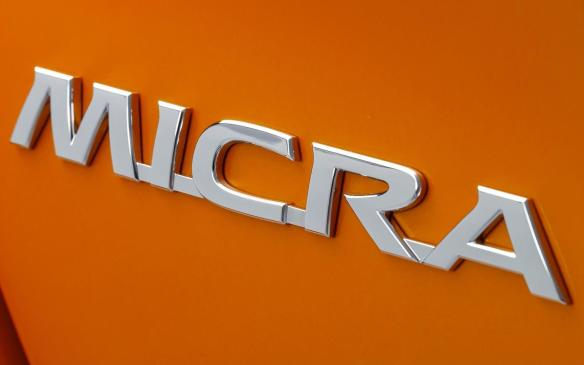 <p>2017 Nissan Micra badge</p>