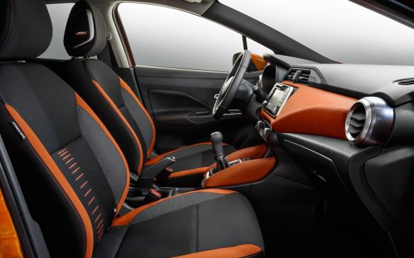 <p>2017 Nissan Micra front seats</p>