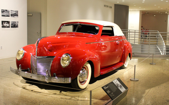 <p>This customized 1939 Mercury Convertible Coupe displays a typical custom car treatment of the '50s, when the practice was at its peak, especially in California. Among its popular features is a padded Carson Top.</p>