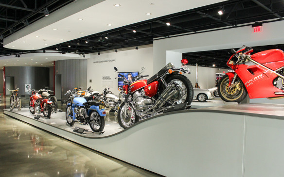 <p>In addition to important individual bikes scattered throughout the museum, there's a veritable parade of motorcycles tracing their history from early powered bicycles to today's power-mad crotch rockets.</p>