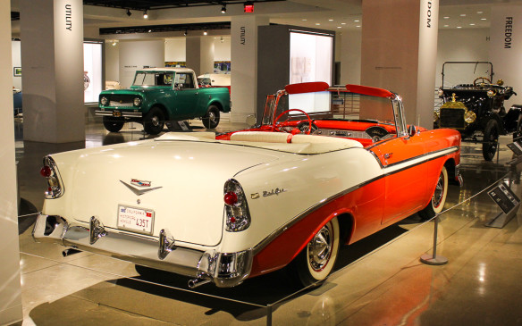 <p>Good design takes many forms, such as this 1956 Chevrolet Bel Air Convertible – arguably the prettiest of the tri-five Chevys, although its '57 sibling gets all the glory – and the International Scout pickup and Model T Ford in the background.</p>