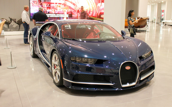 <p>Unlike many if not most museums, not all the cars in the Petersen are old, as exemplified by this current-era Bugatti Veyron in the lobby. It's one of several models highlighting an extensive special exhibit now on display, celebrating 'The Art of Bugatti'.</p>