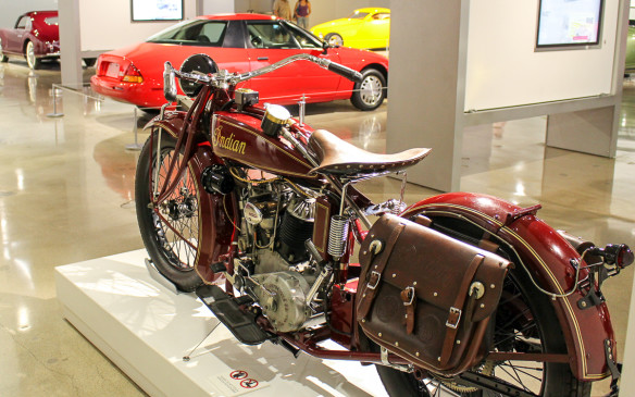 <p>This impeccably restored 1927 Indian Big Chief was once owned by Steve McQueen. (Yes, that's a General Motors EV1 behind it.)</p>