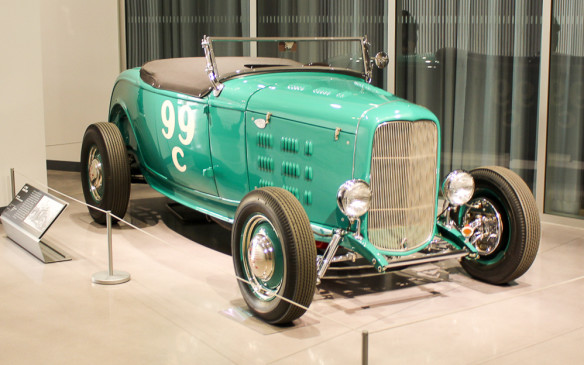 <p>There's a 'hot rod' in the lobby, too – a traditional '32 Ford roadster typical of the mid-1940s when this one was built… and when 'Hot Rod' magazine was launched to become the cornerstone of the Petersen Publishing empire from which the museum ultimately evolved.</p>
