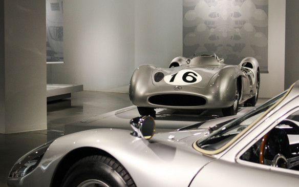 <p>Here's a taste of what can be found in the 'Precious Metal II' exhibit. That's a Mercedes-Benz W196 'Monza' – a streamline-bodied Formula 1 car, with a Porsche 904 Carrera GTS in the foreground.</p>