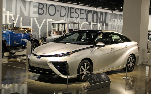 <p>Given California's role at the forefront of automotive environmental advances, it's natural that there's a display highlighting that theme. Front and centre is a hydrogen fuel-cell powered Toyota Mirai. But note the blue car in the background. It has a Canadian connection.</p>