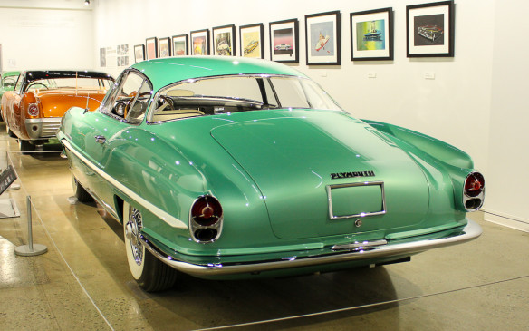 <p>Inside, there's a dream car display circa 1950s that includes this svelte 1954 Plymouth Explorer by Ghia – one of several such cars built by Ghia for Chrysler during that period, to explore styling ideas for the future.</p>