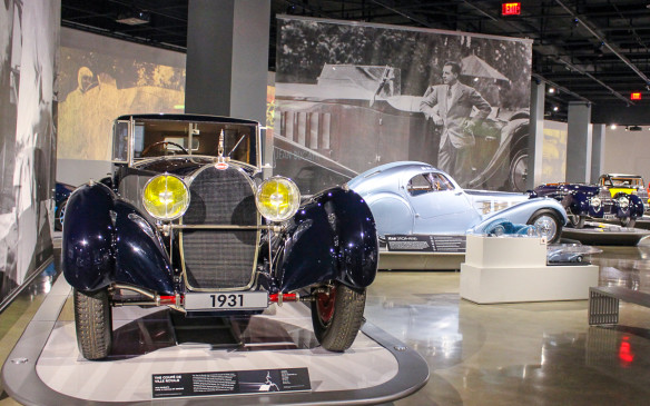 "<p>The special 'Art of Bugatti' exhibit inside features 16 cars of the <em>""pur sang"" </em>marque, as well as works of art by Bugatti family members. The featured cars include the ultra-rare Type 41 Royale in the foreground and Type 57C Atlantic in the background.</p>"
