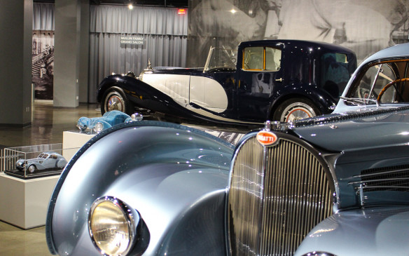 "<p>nd here's a teaser of the 'Art of Bugatti' collection, with a Type 57C Atlantic in the foreground and one of only six Type 41 Royales ever built behind. Check out our gallery, ""<a href=""http://www.autofile.ca/en-ca/car-photos/classic-bugattis-honoured-at-petersen-museum"">Classic Bugattis honoured at the Petersen Museum</a>.""</p>"