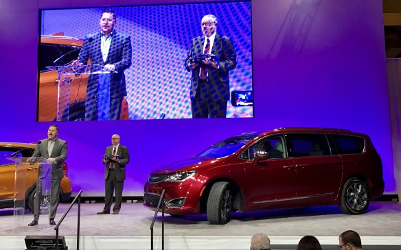 <p>7:10 AM - The all-new Chrysler Pacifica minivan was the winner of the first ever North American Utility Vehicle of the Year award, joining the long-established North  American Car and Truck of the Year Awards. The Pacifica earned 300 points to win, while the silver medal went to the slick Mazda CX-9, with 135 points, and bronze to the racy Jaguar F-Pace, with a score of 125 points.</p>