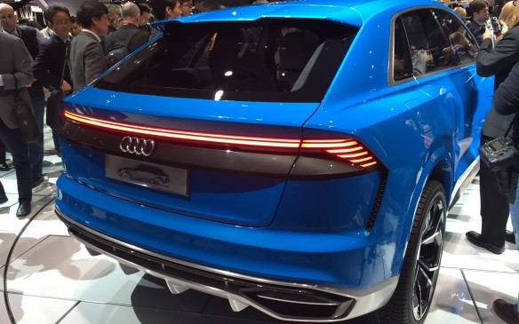 <p>8:15 AM - Audi used its press conference slot to show off a plethora of world premiere vehicles that include its Q8 Concept SUVand SQ5, as well as its A5 and S5 Cabriolet.<br /><br />The Q8 Concept is an important vehicle for the German brand as it shows off the design language of not only its flagship SUV, but its lineup. Audi has finally taken more of a chance in styling with a coupe-like physique that steers away from conventional with a sleek silhouette and downward sloping backside that still allows for rear seat passenger comfort.</p>