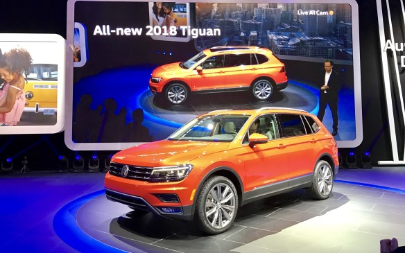 <p>10:45 AM - The next-generation Volkswagen Tiguan that drove on stage here is sleeker and 26 centimetres longer than the previous model, with an available third-row seat and more cargo area. It has a new 2.5 litre engine and will go on sale this summer along with the full-size Atlas SUV.</p>