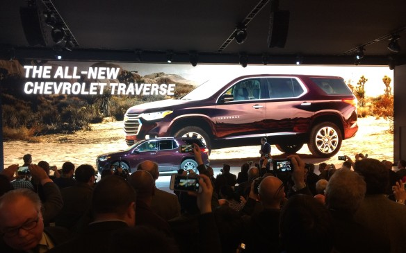 <p>7:40 AM - Chevrolet took the wraps off its wholly redesigned 2018 Traverse SUVredesigned 2018 Traverse, which offers what is expected to be best-in-class third-row legroom, maximum cargo room and passenger volume as well asan enhanced roster of available active safety features.</p>