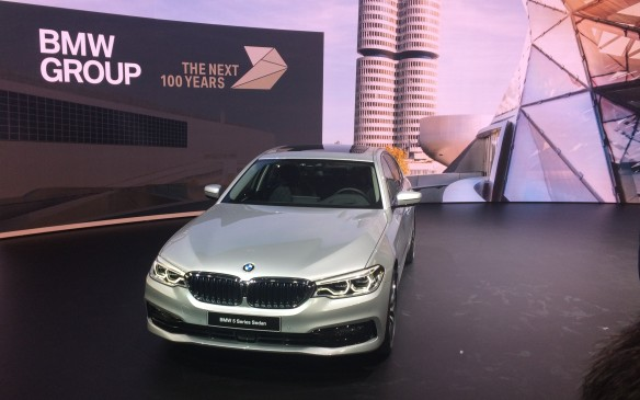 <p>11:00 AM - The world premiere of the BMW 5 Series, which turned heads here, is said to be the most dynamic and innovative 5er so far. Designed to set new benchmarks in its market, the new version is lighter and quicker, dropping 100 kilos in weigh. BMW says it's best in class for efficiency, comfort and safety features, including remote control parking and driverless support. Plug-in hybrid and  M performance models will also be  available.</p>