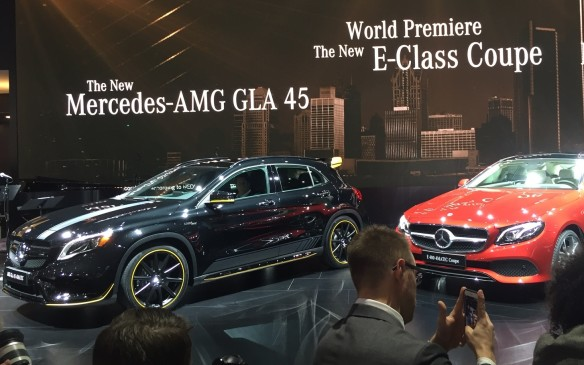 <p>10:30 AM - Mercedes-Benz showed off a variety of new vehicles including the new E-Class Coupe, a refreshed AMG GLA 45 4Matic crossover and an AMG GT C Edition at NAIAS.</p>